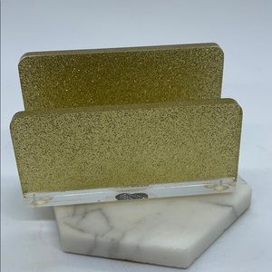 Alice&Marie Business Card Holder, Acrylic, Gold